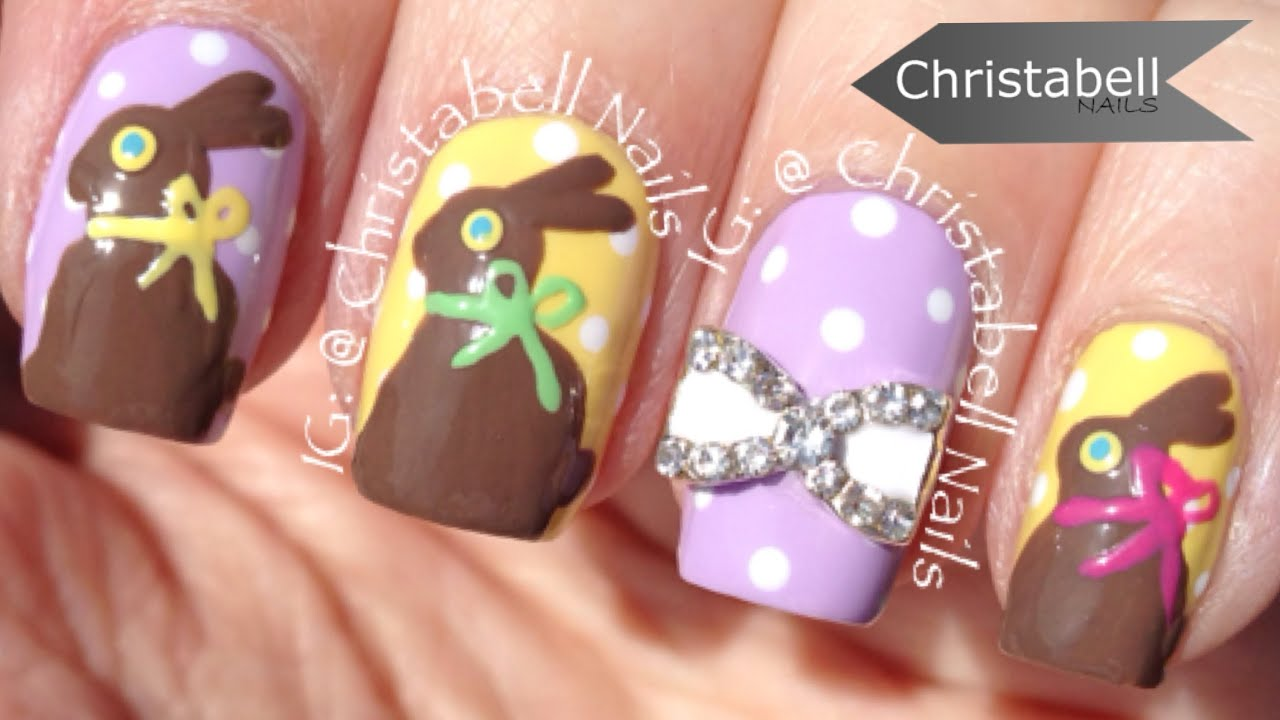 ChristabellNails Easter Chocolate Bunny Nail Art Tutorial - YouTube