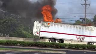 FLEMINGTON NEW JERSEY TRUCK FIRE WITH EXPLOSIONS 6/24/17 FULLY INVOLVED TRACTOR TRAILER FIRE