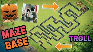 GIANT SKELETONS AND PUMPKIN BARBARIANS VS MAZE BASE | COC NEW TROOPS TROLL ATTACK | CLASH OF CLANS
