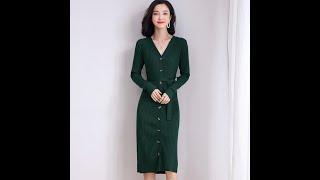 Новое осенне зимнее полосатое жаккардовое платье на коленях с пуговицами облегающее трикотажное