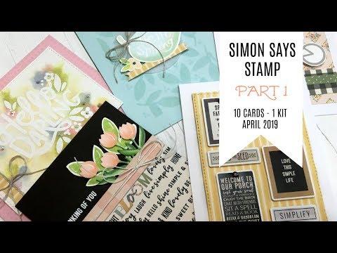 10 Cards - 1 Kit / Part 1 / Simon Says Stamp April 2019 Card Kit / Hello Darling
