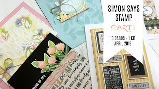 10 Cards - 1 Kit / Part 1 / Simon Says Stamp April 2019 Card Kit / Hello Darling