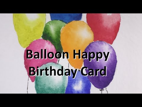 How to paint a Birthday Card of Balloons in Watercolor Tutorial Watercolour