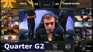 FNC vs EDG Game 2 | Quarter Final S8 LoL Worlds 2018 | Fnatic vs Edward Gaming G2