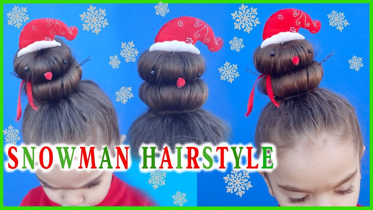 CHRISTMAS HAIRSTYLE ⛄ SNOWMAN / Christmas hairstyle for short hair