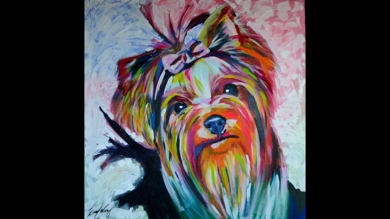 Yorkshire dog pintura youtube - Pintura acrilica pared ...