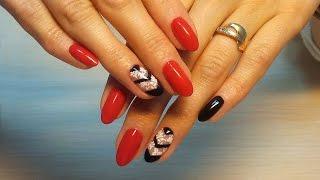 Дизайн ногтей гель-лак shellac - Слайдер дизайн + роспись (видео уроки дизайна ногтей)