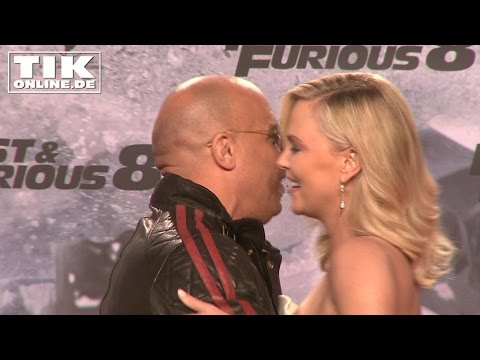 Charlize Theron kissing Vin Diesel: German premiere