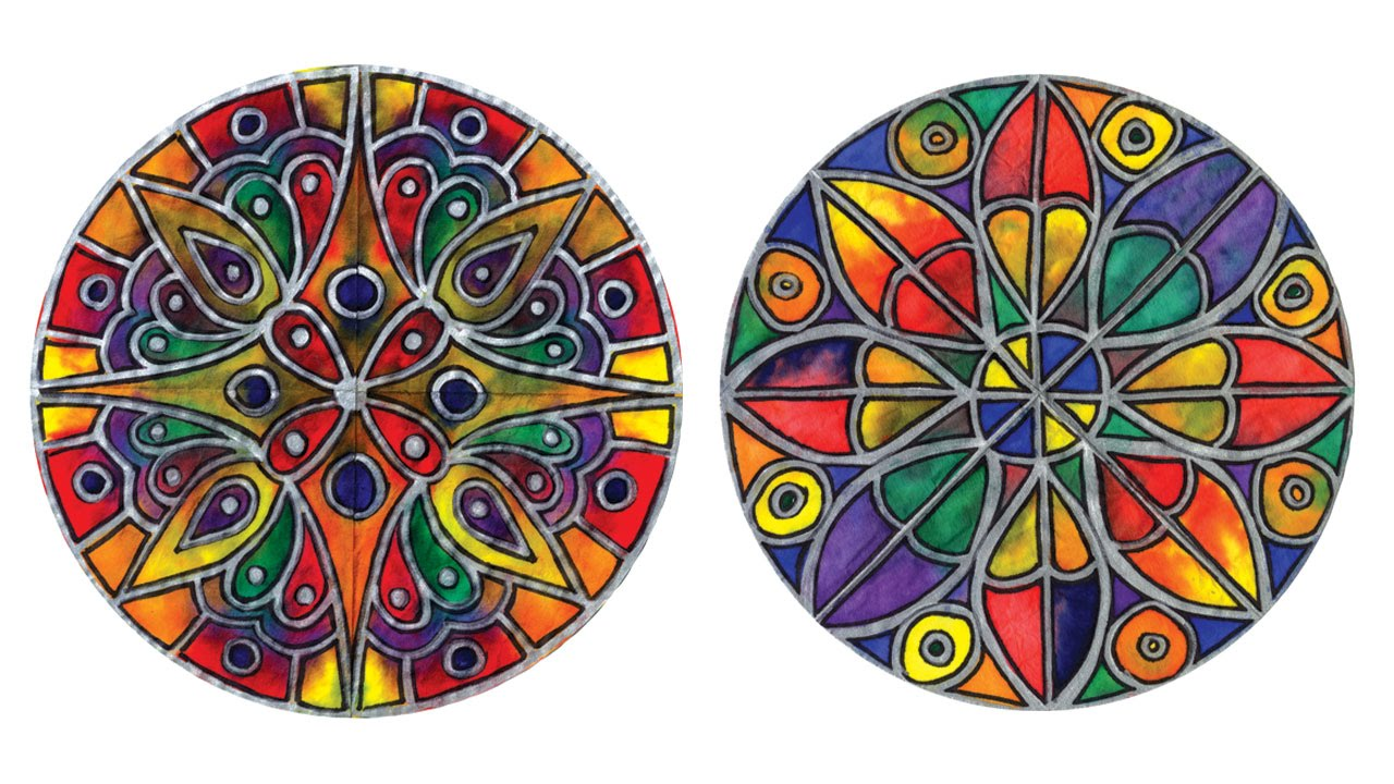 Color Diffusing Paper Stained Glass Rose Window
