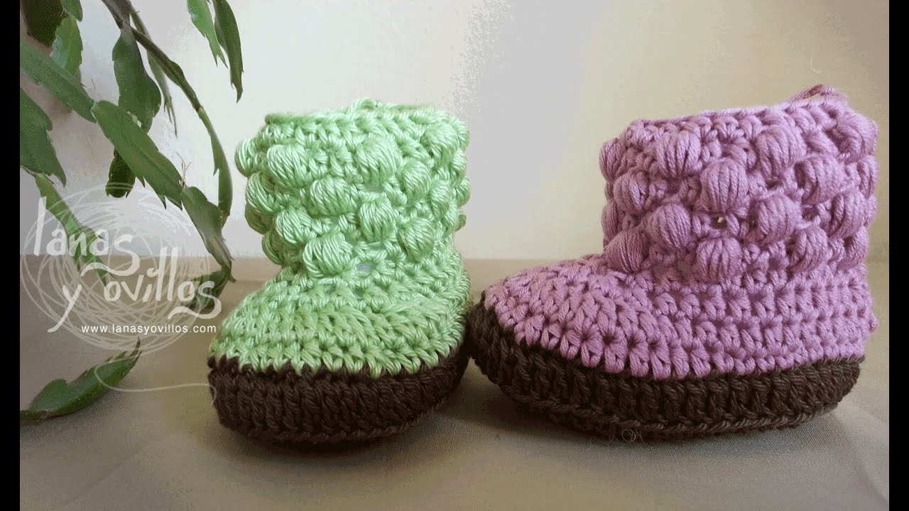 Tutorial Botas Bebe Crochet o Ganchillo Baby booties (english sub ...