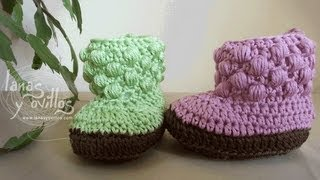 Repeat youtube video Tutorial Botas Bebe Crochet o Ganchillo Baby booties (english sub)