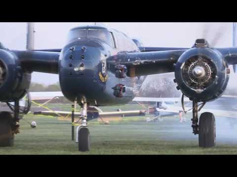 B25 Mitchell's taking off from Grimes Field in Urbana, Ohio for Doolittle Anniversary