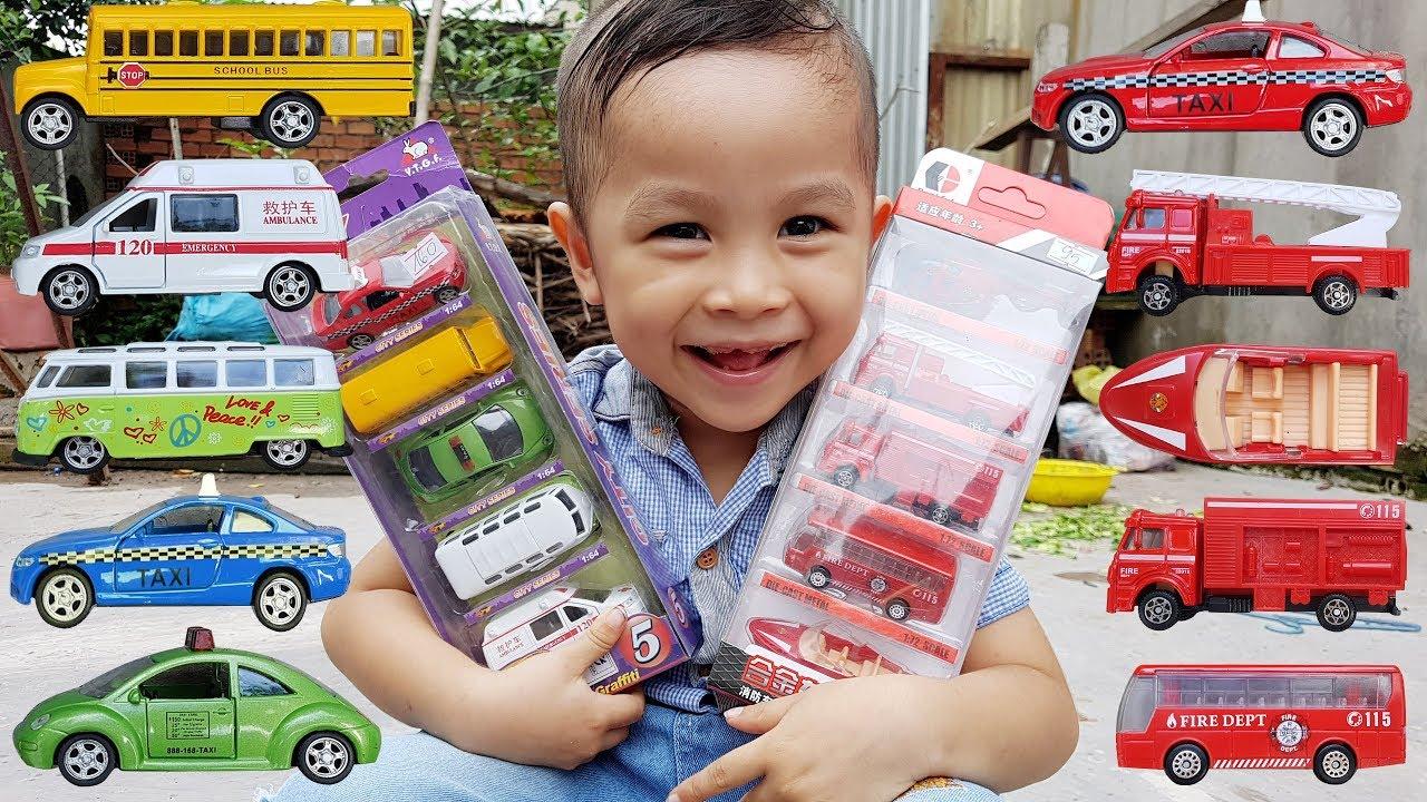 Bộ Đồ Chơi Xe Cho Bé Xe Cứu Hỏa Xe Bus & Taxi ❤ ChiChi ToysReview TV ❤ Car Toy Baby Song