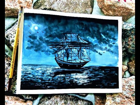 Night Sky Lonely Ship Painting Step by Step | Easy Painting