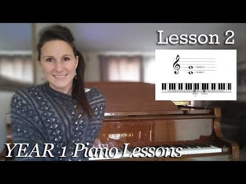 Lesson 2: Treble Clef G and Middle C| Free Beginner Piano Lessons - [Year 1]  Lesson 1-2