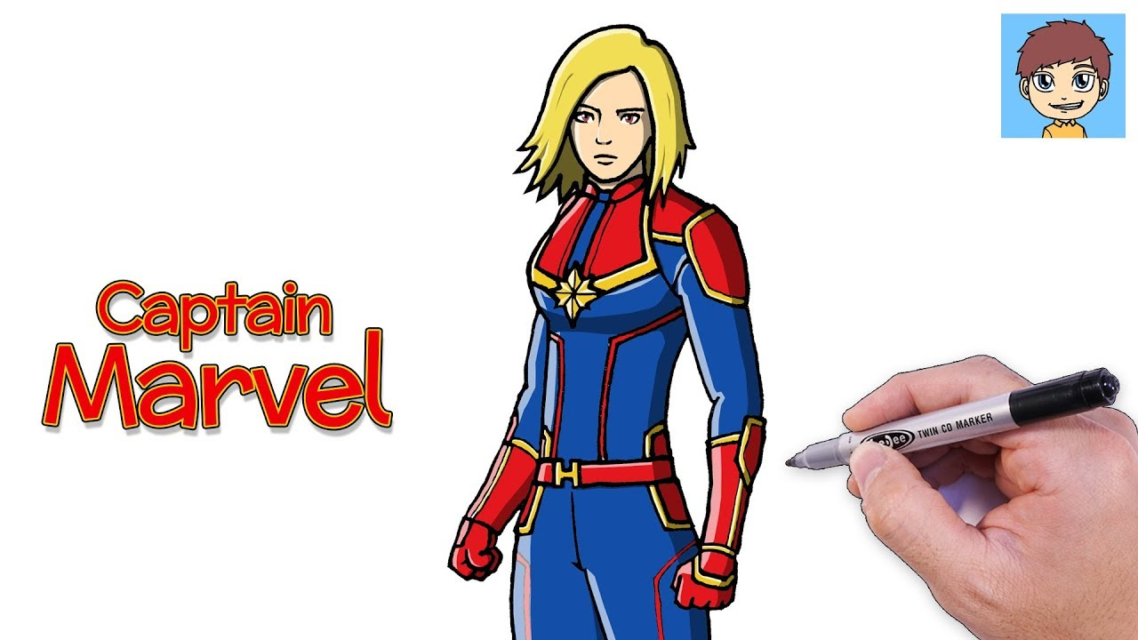 Comment Dessiner Captain Marvel Facilement Dessin Facile A Faire Dessin Super Héros
