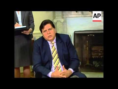 Peruvian President Garcia visits Washington, expects to meet Bush
