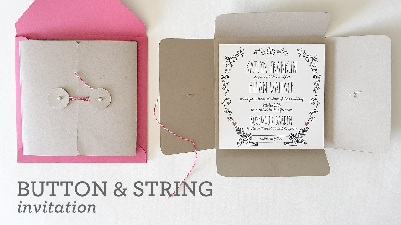 Diy Wedding Invitation Pocket With Button String Closure