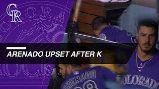 Nolan Arenado shows frustration after striking out