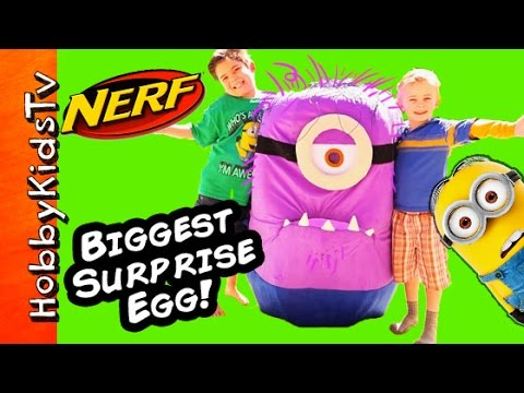 Worlds Biggest Purple Minion NERF Surprise Blasters! HobbyKidsTV