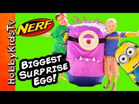 Giant Purple Minion + Surprise Toys! HobbyKidsTV