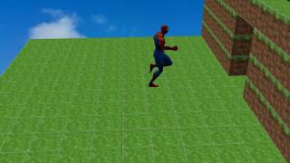 Spiderman exploring the world of minecraft