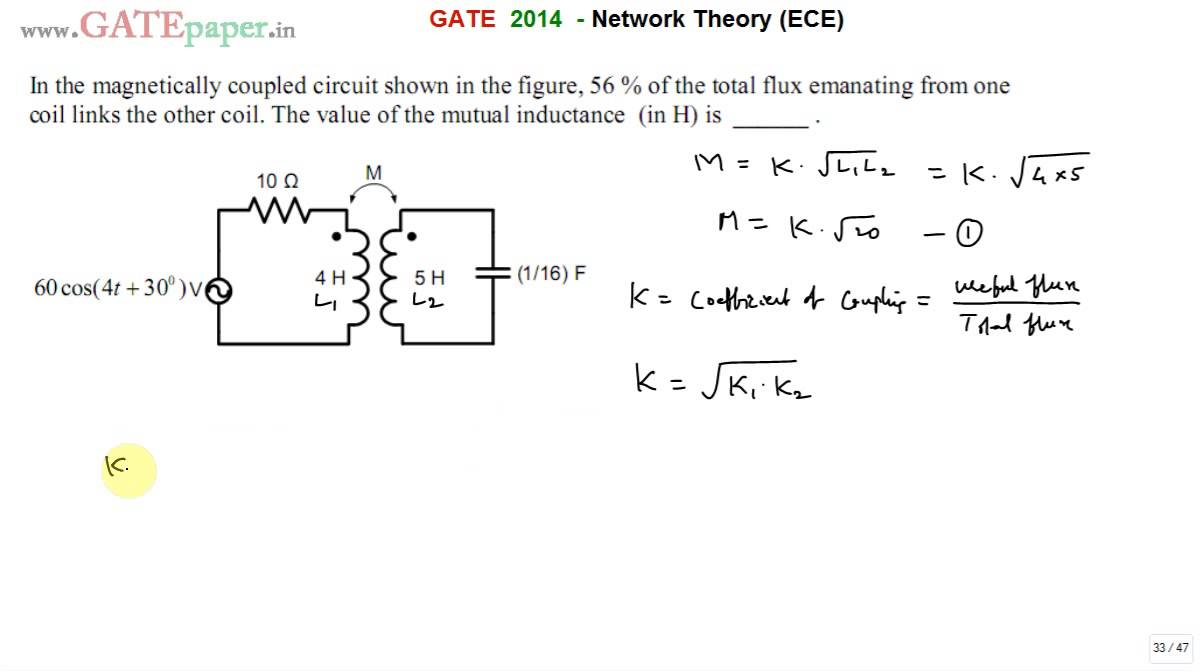GATE 2014 ECE Find Mutual Inductance of magnetically coupled circuit ...