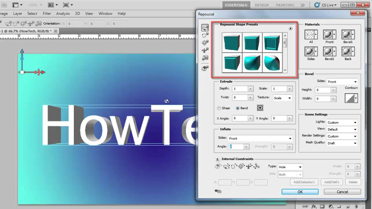 How to create 3d text in photoshop cs5 youtube for 3d building creator