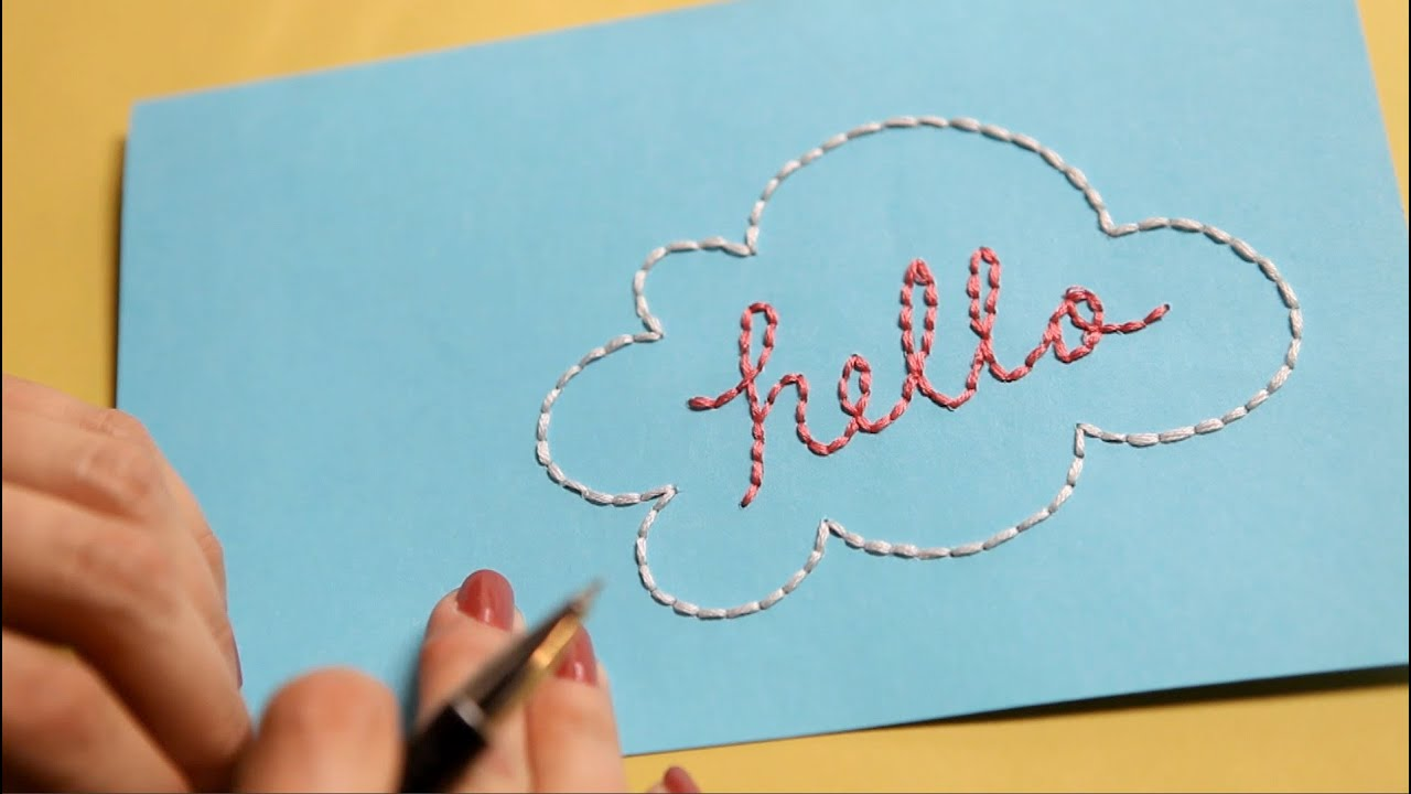 How to Embroider a Paper Card  KIN DIY  YouTube