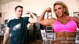 Ashley Hromyak Female Bodybuilder Flexing Vs Eagles Fan boy Sean