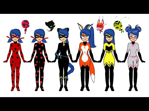 LADYBUG ALL TRANSFORMATION PAPER DOLLS COSTUMES DRESSES ACCESSORIES PAPERCRAFTS