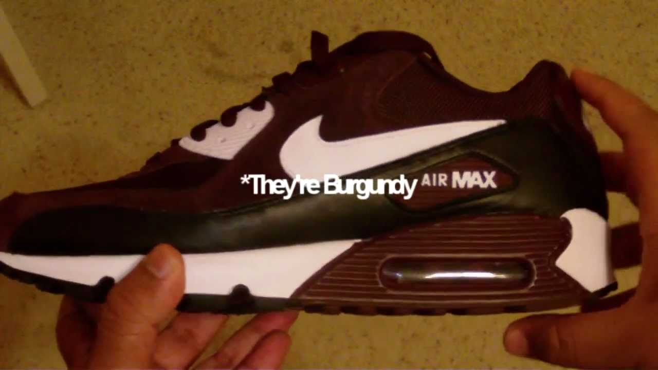 0c703ff315 Nike Air Max 90 Review- Burgundy/Maroon, White, Black - YouTube