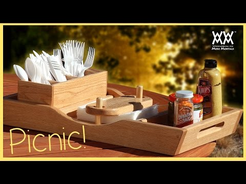 Summer Picnic Tray. Wow! Napkins Won't Blow Away!