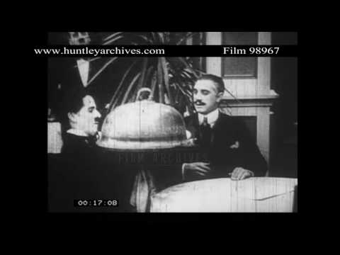 Charlie Chaplin Comedy Playing on Cinema Screen.  Archive film 98967