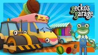 Rick The Road Roller Squashes Fruit | Gecko's Garage | Learn Colours For Kids