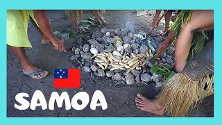 SAMOA, cooking delicious food in an EARTH OVEN or UMU (PACIFIC OCEAN)