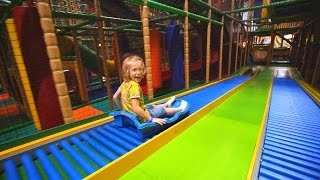 Fun Sled Slide Race at Busfabriken Lekland (indoor playground family fun for kids)