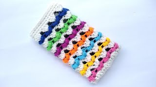 How to Crochet a Phone Pouch in  Striped Puff Stitch