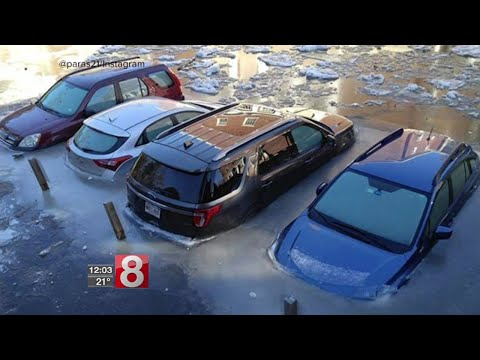 Ice jams cause flooding concerns, road closure