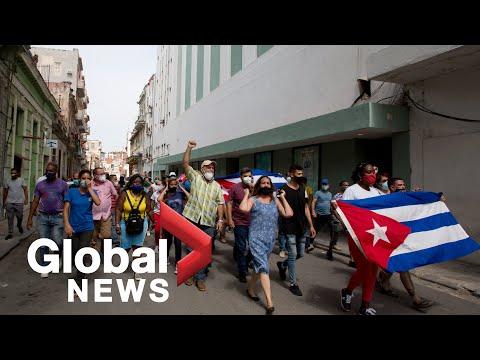 Massive anti-government protests in Cuba; president blames US for unrest