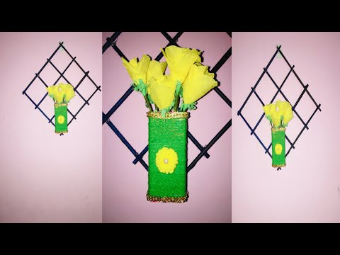 Wall hanging craft from waste materials || colgate cover || News Paper || Flower vase
