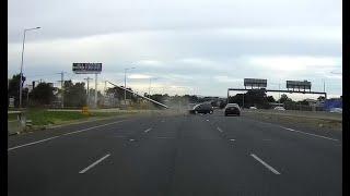 Honda crashes into pole on Calder freeway - VIC