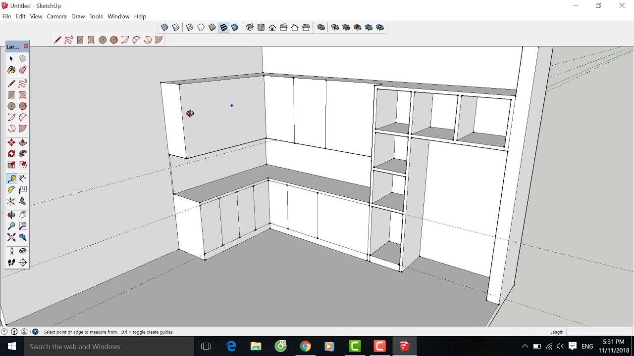 Hướng dẫn sketchup, Bài 8: Vẽ tủ bếp, thiết kế tủ bếp cho gia đình
