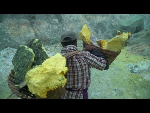 Mining For Sulfer Inside A Volcano