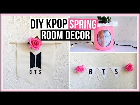 DIY Kpop Spring Room Decor Ideas | No Sew DIY Fabric Banner, Picture Jar, & More