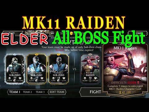 MK Mobile MK11 Raiden Elder Challenge All Boss Fight