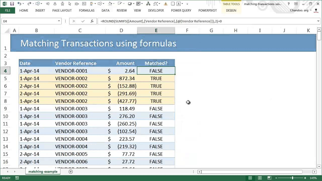 matching transactions reconciling using excel pivot tables