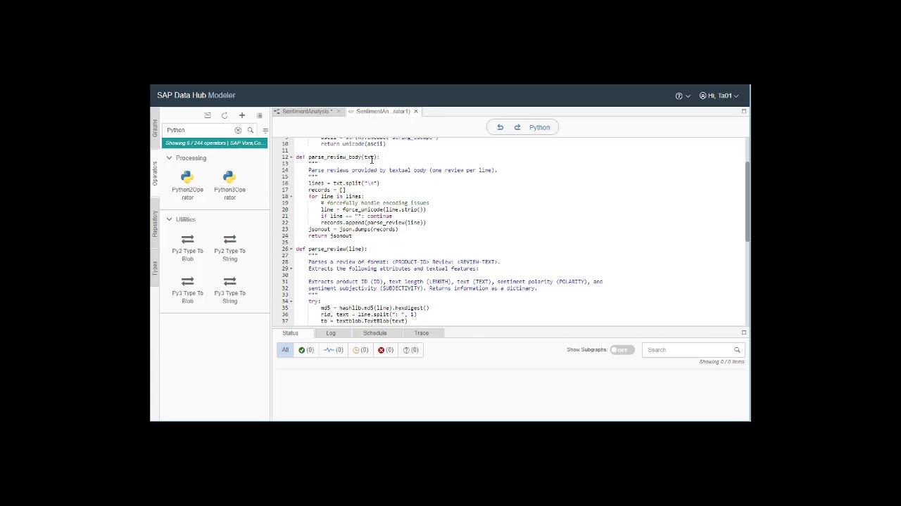 SAP Data Hub 2 x Modeling Pipeline Demo - 2/4: Python2 Operator