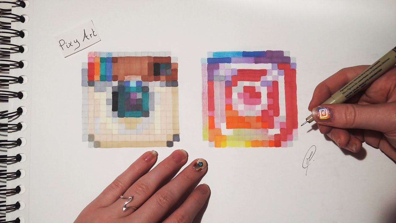 Social Media Drawing Instagram Logos Pixel Art