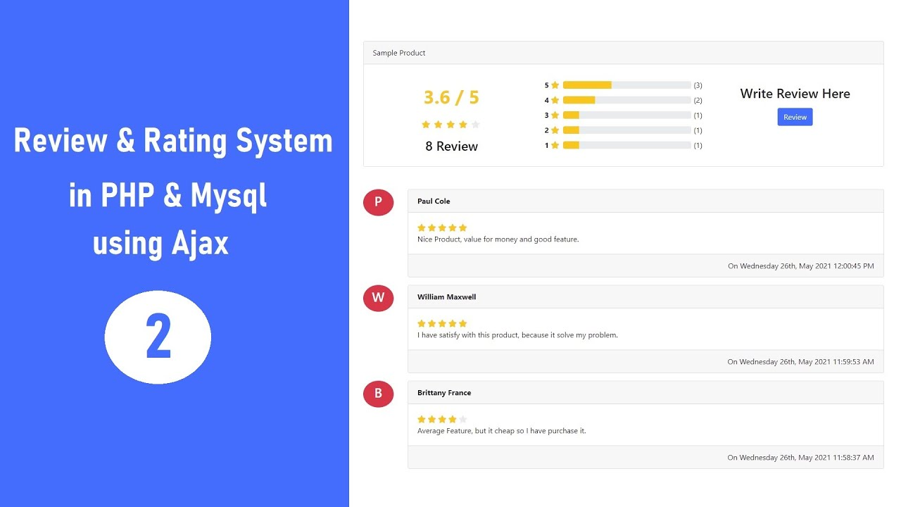 Review & Rating System in PHP & MySQL using Ajax - 2